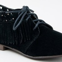 Breckelle's SANDY-24 Fringe Detail Cut Out Lace Up Oxford Flat Shoe ZOOSHOO