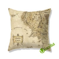 Middle Earth Map The Lord of The Rings Square Pillow Cover