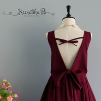Party Angel Dress Maroon Backless Party Dress Maroon Backless Bow Dress Prom Party Wedding Cocktail Bridesmaid Dresses Maroon Dress XS-XL
