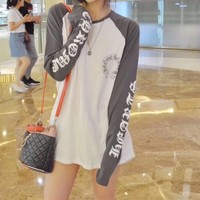 """""""Chrome Hearts"""" Women Fashion Multicolor Lips Letter Print Personality Stitching Loose Long Sleeve Sweater Tops"""