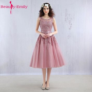 Beauty Emily Dark Pink Beaded Lace Appliques elegent Bridesmaid Dresses Short sleeve 2018 new for girls wedding Bridesmaid Dress