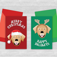 Printable Dog Christmas Gift Card holders, dog with santa hat and antlers, green and red mini envelopes, happy holidays, merry christmas
