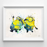 Despicable Me Print, Two Minions Poster, Minions Print, Gift Idea, Watercolor Art, Illustration, Giclee, Nursery Room Decor, Christmas Gift