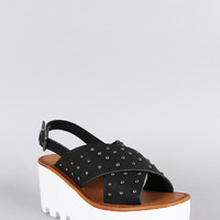 Bamboo Studded Lug Sole Platform Wedge