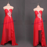 2014 long red chiffon holiday dresses with sequins,unique women gowns in handmade,cheap sweetheart dress for homecoming party.