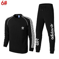 Adidas Classic Popular Men Women Leisure Print Sport Top Sweater Pants Trousers Set Two-Piece Sportswear
