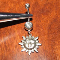 Clear Belly Ring with Sterling Silver Sun Dangle
