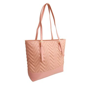 Light Pink Leather Chevron Tote Bag