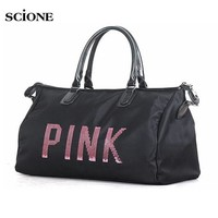 DKF4S Designer Metal Sequins PINK letters Gym Fitness Sports Bag Shoulder Crossbody Bag Women Tote Handbag Travel Duffle Bolsa XA563YL