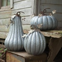 Galvanized Pumpkin with Rustic Detail  (Set of 3)