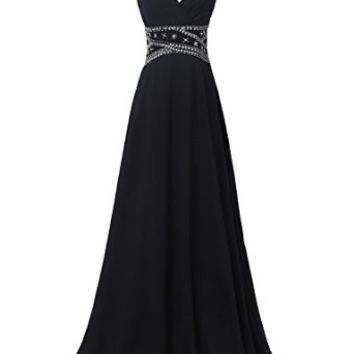 Sexy Cross Back Chiffon Ball Gowns with Sequins Beadings