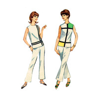 1960s Mod Top Bell Bottom Pants Pattern Simplicity 6389 Color Block Sleeveless Top Size 14 Bust 34