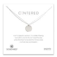 Dogeared Centered Large Circle Charm on Double Chain - Sterling Silver & Gold Dipped 18 inch