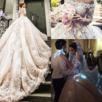 Luxury Cathedral Wedding Dresses Ball Gown Off Shoulder 3/4 Sleeve Royal Bridal Gown 3D Floral Lace Custom Made