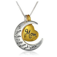 Mom Heart And Moon Silver Alloy Pendant Necklace
