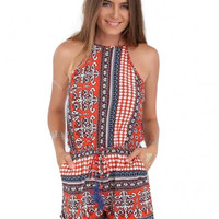 Red Sleeveless Tribal Printed Romper with Keyhole Back