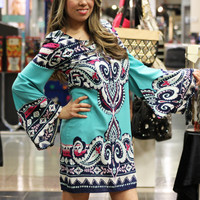 Printed Bell Sleeve Shift Dress in Turquoise