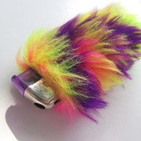 Awesome Lighter Case, Bic Lighter Cover Holder, Faux Fake Fur, Trippy 90's Acid Club, Rave Accessories