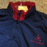 Sale!! Vintage 80s Le Coq Sportif windbreaker Tennis Warm-up with hidden hoodie Casual Jacket size Adult L Free US Shipping