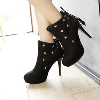 Rivets Tassels Back Lace Up Round Toe Stiletto High Heels Short Boots