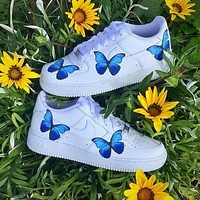 Nike Air Force 1 Low Print Trending Flat shoes blue butterfly White