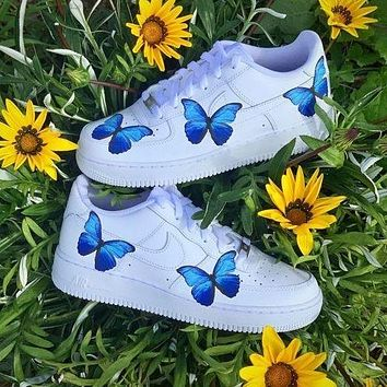 Wearwinds Nike Air Force 1 Low Print Trending Flat shoes blue butterfly White