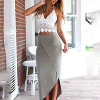 White Deep V-Neck Lace Halter Cropped Top and Gray Wrap Maxi Skirt