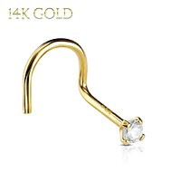 Nose Screw Ring 14Kt. Solid Yellow Gold Prong 2mm CZ 20G Body Jewelry