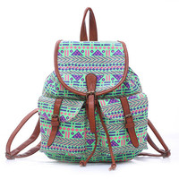 Women's Large Canvas Ethnic Aztec Daypack Backpack Travel Bag