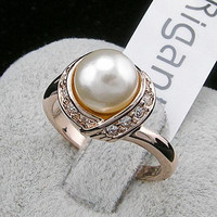 2 Colors Brand TracysWing Austria Crystal  18KRGP gold Color simulated pearl Rings for Women Vintage New Sale Hot RG93137