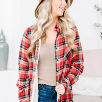 Plaid Long Sleeve Cotton Flannel | Red