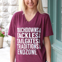 Football Description V-neck Tee {Maroon}