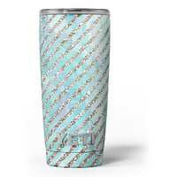 Blue Watercolor and Gold Glitter Diagonal Stripes - Skin Decal Vinyl Wrap Kit compatible with the Yeti Rambler Cooler Tumbler Cups