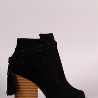 Qupid Open Toe Chunky Heel Tassel Booties