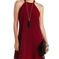 Wine Racer Front Braided Back Shift Dress by Charlotte Russe