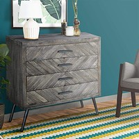 """29"""" Chevron Pattern Wooden 4 Drawer Accent Dresser Chest with Angled Metal Legs, Gray By The Urban Port"""