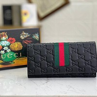 GUCCI Women's Embossed Logo Long Flap Coin Purse