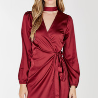 For The Night Satin Wrap Dress