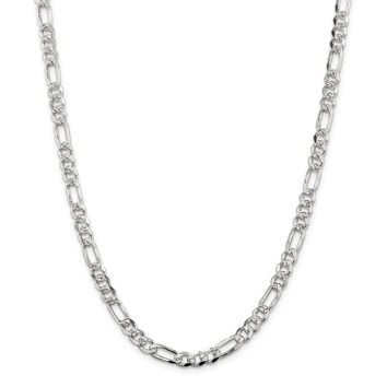 Sterling Silver 5.5mm Pave Flat Figaro Chain Necklace
