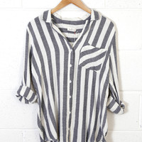 Camden Striped Button Up Blouse