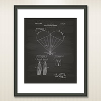 Multiple Parachute 1936 Patent Art Illustration - Drawing - Printable INSTANT DOWNLOAD - Get 5 colors background
