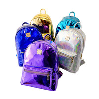 Hot sale new  Arrival ! Silver holographic Laser Men/Women PU Leather Backpack space Multicolor Silver College Bag Free Shipping