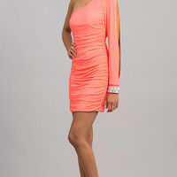 Short One Sleeve Ruched Dress