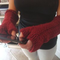 Fingerless Gloves - Knitted Gloves - Fingerless Mittens - Long Armwarmers - Cable Knit Armwarmers - Winter Fashion - Gift for Her