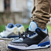 Nike Air Jordan AJ3 High Top Basketball Shoes Black/Blue Men's and Women's Casual Sports Shoes