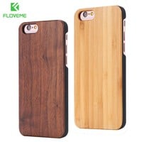 FLOVEME Real Bamboo Wood Case For iPhone 7 6 6S Plus Case For iPhone 6 6S Coque Phone Accessories For Apple iPhone 5 5S SE Cover