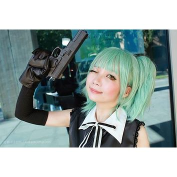 Assassination Classroom-Kayano Kaede green cosplay costume wig with 2 ponytails factory price 30cm short dark green cosplay wigs,Colorful Candy Colored synthetic Hair Extension Hair piece 1pc WIG-575C