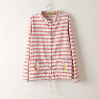 Stripe Cat Embroidered Drawstring Button Shirt