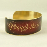 Though She Be But Little She Is Fierce - Shakespeare Jewelry - A Midsummer Night's Dream Brass Cuff in Red