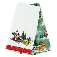 Santa Mickey Mouse and Friends Happy Holidays Dish Towel Set | Disney Store